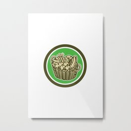Crop Harvest Basket Circle Retro Metal Print
