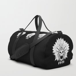 Shaman skull black & white Duffle Bag