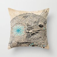 the thing Throw Pillows featuring Thing. by Bläckbeärd