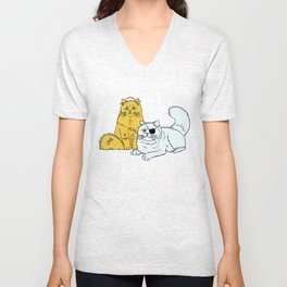 Navy Cats Unisex V-Neck