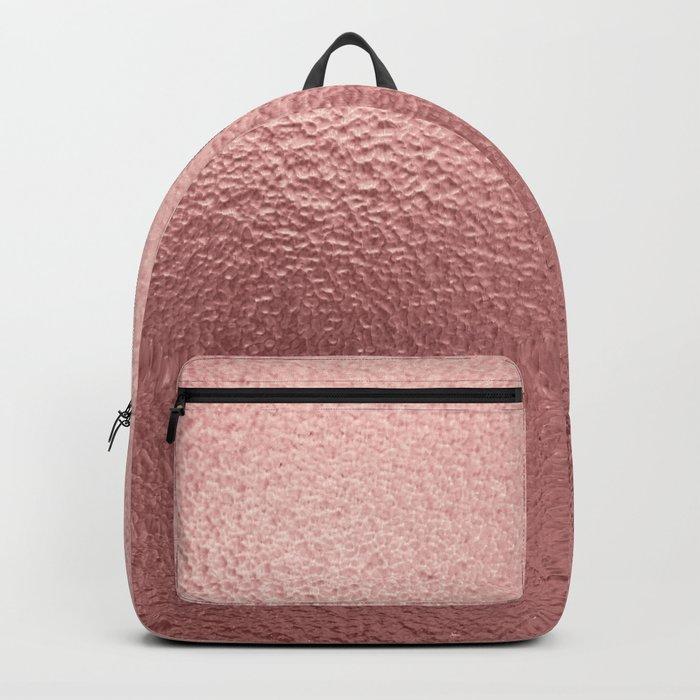 Rose quartz- pink metal foil background Backpack