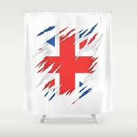 uk Shower Curtains featuring Torn Flag UK by Leon-Design