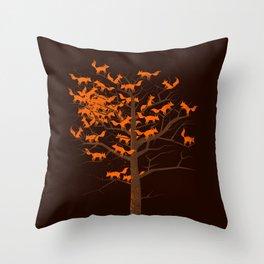 Blazing Fox Tree II Throw Pillow