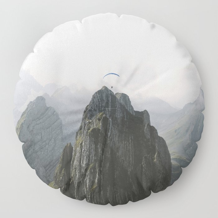 Flying Mountain Explorer - Landscape Photography Floor Pillow