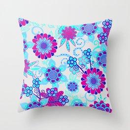 Happy Hippy Flower Power Throw Pillow
