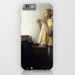 Johannes Vermeer - Woman with a Pearl Necklace iPhone Case