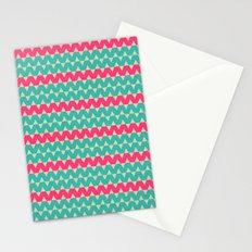 Blue & Pink Geometric Zig-Zag Pattern Stationery Cards