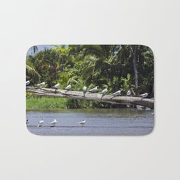 Royal terns on a log in river estuary - Costa Rica Bath Mat