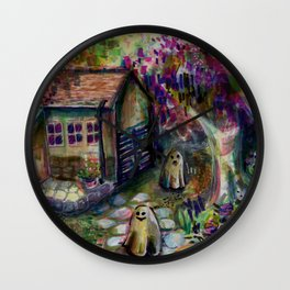 ghosts playing in home's garden Wall Clock