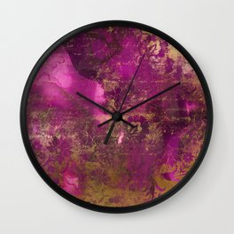 Pretty Pink Watercolor With Distressed Gold Floral and Script Wall Clock
