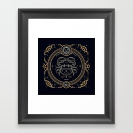 Cancer Zodiac Gold White with Black Background Framed Art Print