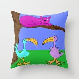 Purple Cat is birdwatching Throw Pillow