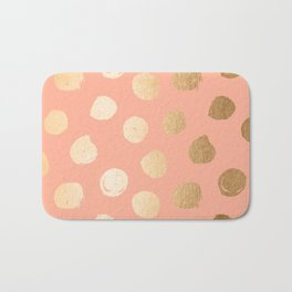 Sweet Life Polka Dots Peach Coral + Orange Sherbet Shimmer Bath Mat