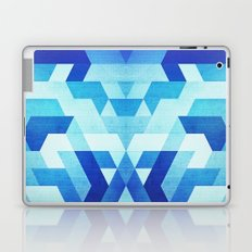 Abstract geometric triangle pattern (futuristic future symmetry) in ice blue Laptop & iPad Skin