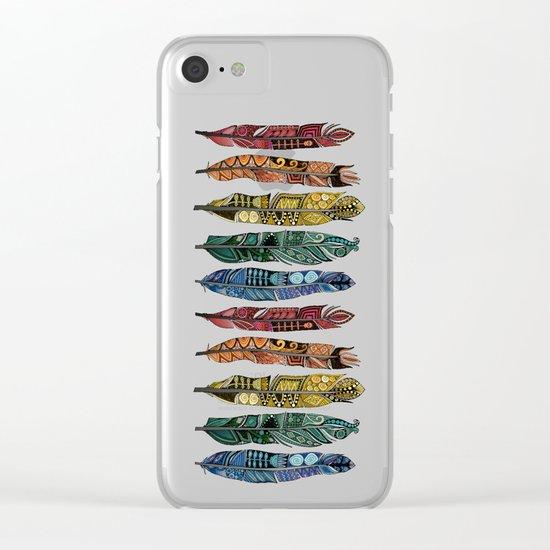 boho rainbow feathers Clear iPhone Case