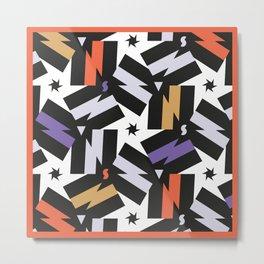 Energy - Morrocan Tiles Memphis pattern minimal geometric star zigzag bolts Metal Print