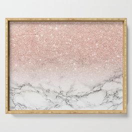 Modern faux rose gold pink glitter ombre white marble Serving Tray