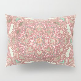 Rose gold cyan mandala Pillow Sham