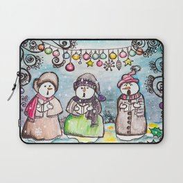 Holiday Snowman Singing Trio Laptop Sleeve