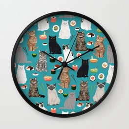 Cat Sushi pattern by pet friendly cute cat gifts for pet lovers foodies kitchen Wall Clock