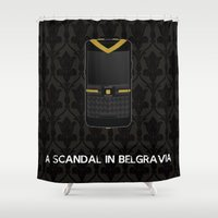 scandal Shower Curtains featuring A Scandal in Belgravia by MacGuffin Designs