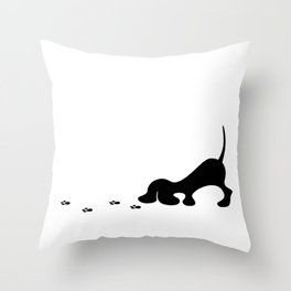 puppy tracking  trail Throw Pillow