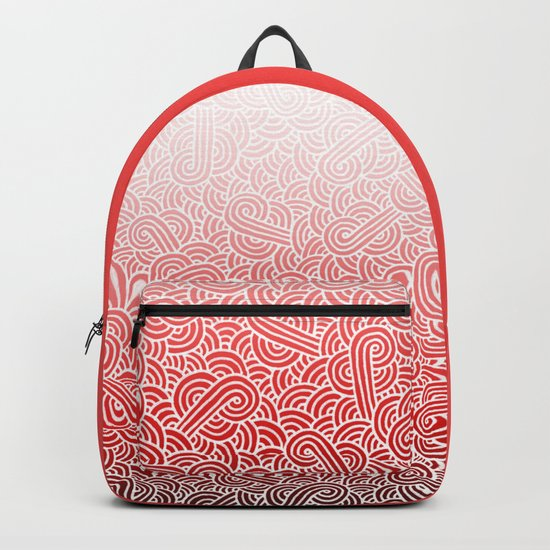 Ombre red and white swirls doodles Backpack