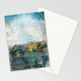Lapis - Contemporary Abstract Textured Floral Stationery Cards