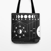 jazzberry Tote Bags featuring Phases of the Moon infographic by Nick Wiinikka