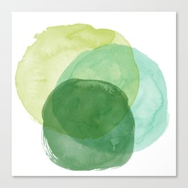 Abstract Organic Watercolor Shapes Painting in Green Canvas Print