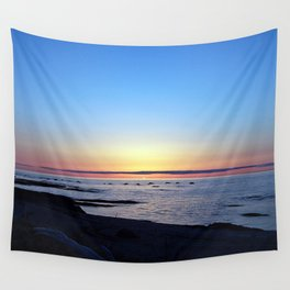 Sun Sets up the River, Across the Sea Wall Tapestry