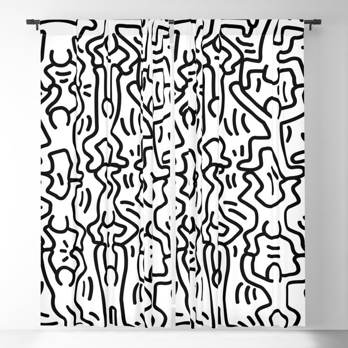 Homage To Keith Haring Acrobats Blackout Curtain By Vintagetroto