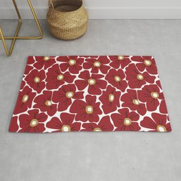 Modern Red Poppies Rug