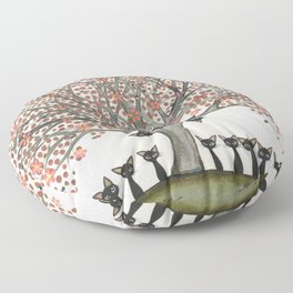 Barbados Whimsical Cats in Tree Floor Pillow