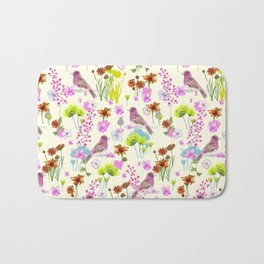 Floral & Purple Finch on Cream Background Bath Mat