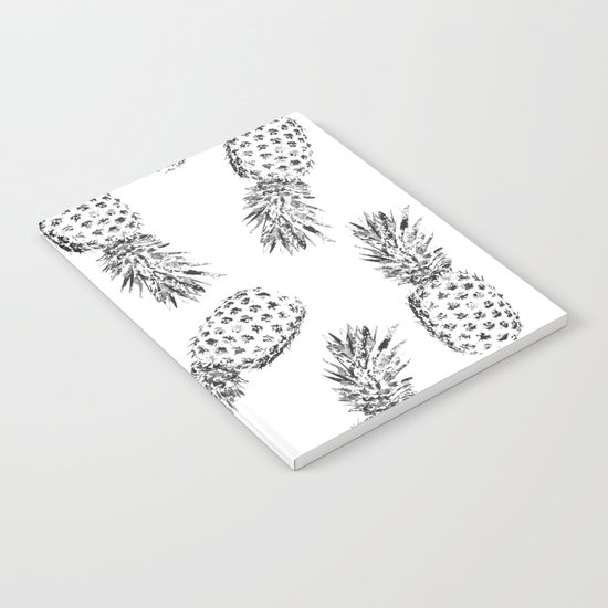 Pineapples Black and White Notebook