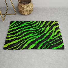 Ripped SpaceTime Stripes - Lime/Green Rug