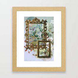 Classic collage, flowers and fruits Framed Art Print