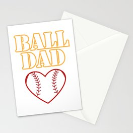 Ball Dad Love Softball Baseball Fathers Day Gifts Stationery Cards