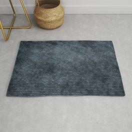 Denim Weave, Minimal, Boho Prints, Indigo Navy Blue Rug