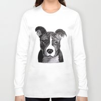 pit bull Long Sleeve T-shirts featuring Pit Bull Dogs Lovers by Gooberella