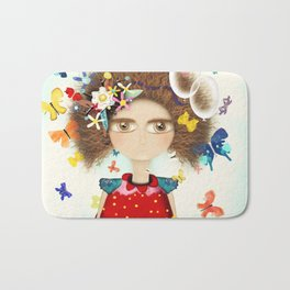 Doll Butterfly Balloons Afro Hair Flowers Bath Mat