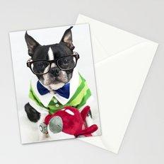Boston Terrier Nerd Stationery Cards