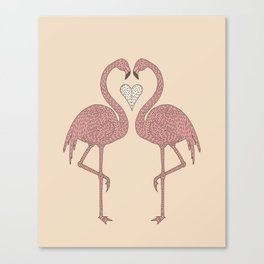 Flamingos and Heart Canvas Print