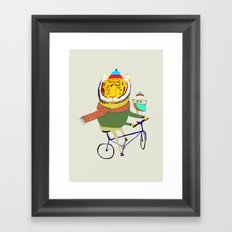Tiger and Owl biking. Framed Art Print