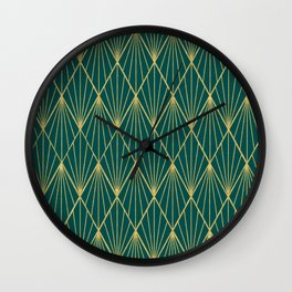 Gold peacock rhombus geometric pattern Wall Clock
