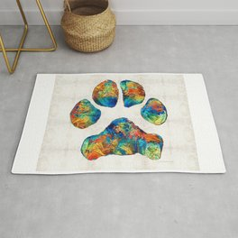 Colorful Dog Paw Print by Sharon Cummings Rug