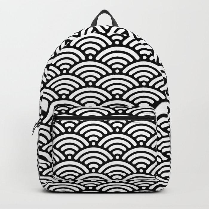 Black White Mermaid Scales Minimalist Backpack