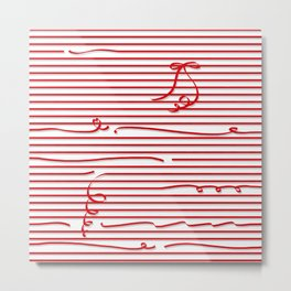 Red stripes (Ribbon) Metal Print