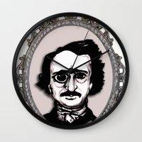 edgar allan poe Wall Clocks featuring Edgar Allan Poe by Michael J.